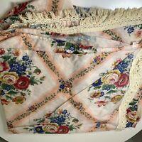 vintage coverlet bedspread pink cream floral Queen fringe trim boho chic usa