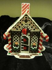 CHRISTMAS FINISHED PLASTIC CANVAS GINGERBREAD HOUSE - TABLE TOP HOLIDAY DECOR
