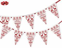 Merry Christmas jumper pattern reindeers Bunting Banner 15 flags by PARTY DECOR