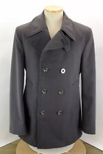 BURBERRY LONDON CHARCOAL GREY DOULE BREASTED PEACOAT JACKET LINED MEN'S MEDIUM
