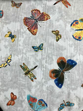 BUTTERFLY DREAM Curtain Upholstery Cotton Fabric Material floral grey 55'' wide