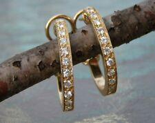 14K YELLOW GOLD & DESIGNER STYLE OMEGA BACK .5CTTW DIAMOND EARRINGS