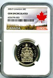 2001 P CANADA 50 CENT HALF DOLLAR NGC GEM UNCIRCULATED RARE !!