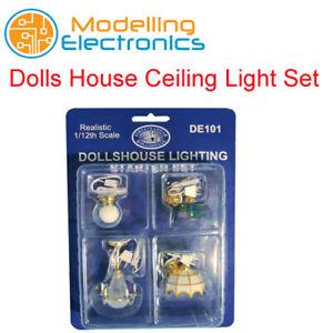 Dolls House Ceiling Light Set selection of 4 popular 1:12 Scale miniature DE101
