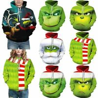 Christmas Grinch Clothes Men Women Hoodie Sweatshirt Coat Pullover Blouse Tops