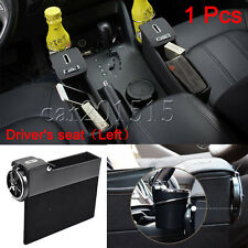 Leather Car Seat Storage Box Catcher Gap Filler Coin Collector Cup Holder