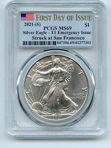 2021 (S) $1 American Silver Eagle 1oz Dollar Type 1 Emergency PCGS MS69 FDOI