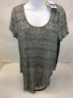 NEW Lily White Women's Gray Heathered Short Sleeve Open Back Top Sz XL
