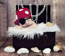 Newborn Baby Photography Prop Costume Crochet Knitted Pirate Hat Caps Outfits