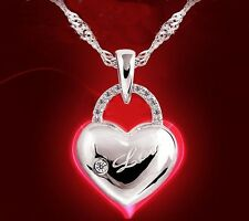 009 Damen Halskette mit Anhänger Herz 925 Silber Pl Kristall Klar LOVE NEU