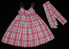 RALPH LAUREN Girls Pink Plaid Ruffle Tank Dress Sash Bow V-Neck ~ Size 5 EEUC gj