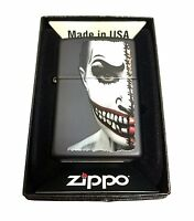 Zippo Custom Lighter Half Scary Painted Clown Face Regular Black Matte New Gift