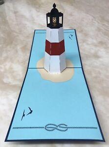 3X Lighthouse 3D Pop Up Handmade Greetings Card