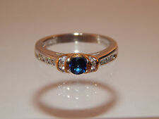 Royal Gems .83 tcw AAA Kashmir Blue Sapphire Diamond Ring G/SI1 14k White Gold