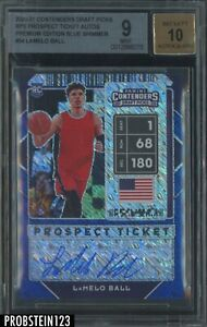 2020-21 Contenders Blue Shimmer Prospect Ticket LaMelo Ball RC AUTO /15 BGS 9