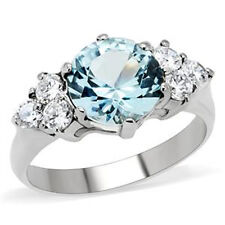 Marine Stone Lady Engagement Ring Size 7 9 mm 316 Stainless Steel March Aqua