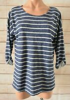 Seed Heritage Jumper Sweater Size Small Blue White Striped Three-quarter Sleeve