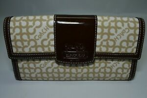 Coach Rare Chelsea Heritage Signature Brown Patent Leather Trim Flap Wallet