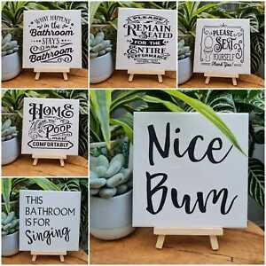 Decorative ceramic tile/sign/plaque, bathroom decoration, home décor, funny gift