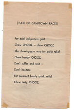 1930s Advertising Song Sheet for CHOOZ Chewing Gum for Indigestion