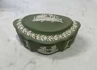Wedgwood Jasperware Bone China Sage Green with White Detail Trinket