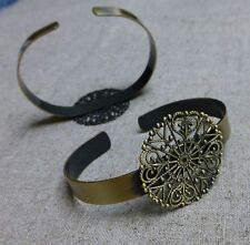 Brass Bracelet Component with Filigree Base - pack of 4