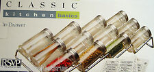 NEW RSVP IN DRAWER SPICE HERB RACK CHROME WIRE & 12 GLASS BOTTLES JARS KITCHEN