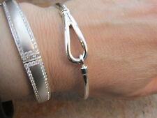 "Sterling Silver Cuff Bangle Bracelet Hook Buckle Design Slip ON 8"" BRAND NEW"
