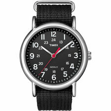 Timex T2N647,  Men's Weekender, Black Fabric Watch, Indiglo