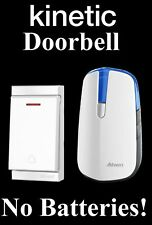 WHITE KINETIC DOORBELL BATTERY FREE MAINS POWERED ECO FRIENDLY DOOR CHIME