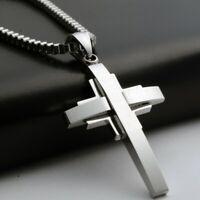 Anhänger Jesus Kreuz Silber mit Halskette kurz 50cm Edelstahl Herren Kette Damen