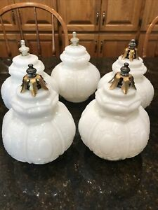 Set of 5 Vintage Milk Glass Textured Art Deco Shade Ceiling Light Globes