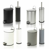 Stainless Steel 3 Litre Pedal Operated Waste Dustbin Rubbish Bin & Toilet Brush