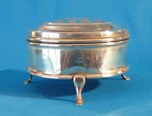 VINTAGE STERLING SILVER JEWELLERY BOX 140.8 grams Birmingham 1938