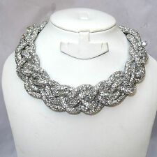 Elegant Braided Swarovki Element Crystal Netted Necklace Choker Free earring