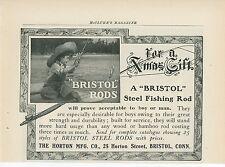 1904 Bristol Steel Fishing Rods Ad Little Boy Catching Fish Horton Mfg. Sport