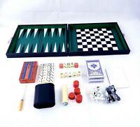Backgammon Multiple Board Game Set~ Vintage Faux Leather  Case Briefcase