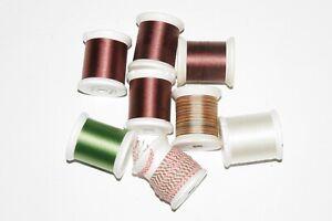 (8) spools of fly tying/rod building thread (brown, green, white & braid) NR