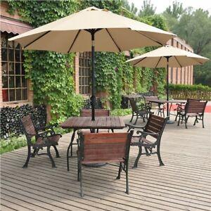 Garden Parasol 2.6m Patio Umbrella Market Table Umbrella w/ Tilt & Crank Handle