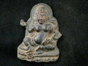 Large Antique Tibetan Bronze Hand Made *The Yellow Kubera* Pendant