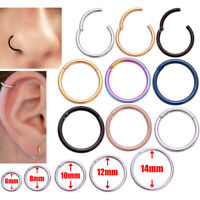 Steel Nose Ring Septum Clicker Ear Helix Tragus Ring Hoop Surgical Hinge Segment