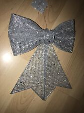 Medium Silver Glitter Bow . 7 X 10 Inches . Xmas Tree Bows . Hanging Gold Bows