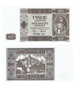 - Paper Reproduction -  Poland 1000 zloty 1941 Pick#103A    361