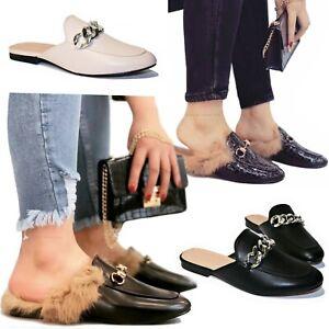 SCARPE Donna Sabot Pelose PELLICCIA Pelo Pantofole Mule Ciabatte Sandali D47