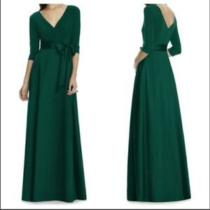 Alfred Sung Jersey & Mikado A-Line Gown in Hunter Green Size Womens 14