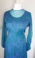Vintage Approx UK Size 16 1960's/70's Green/Blue Watercolour Maxi Dress (11)