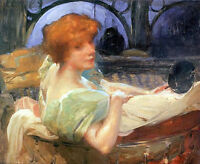 Hand painted oil painting Portrait de Mme Georges Rodenbach Young woman on sofa