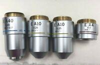 Olympus Japan Microscope Objectives x40 E A40 0.65/ x10 E A10 0.25/ x4 E A4 0.10