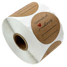500x Homemade with Love Paper Kraft Sticker Tags Labels Gift Packaging Craft