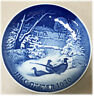 B&G BING AND GRONDAHL Blue CHRISTMAS PLATE 1970 Pheasants in the Snow  7""